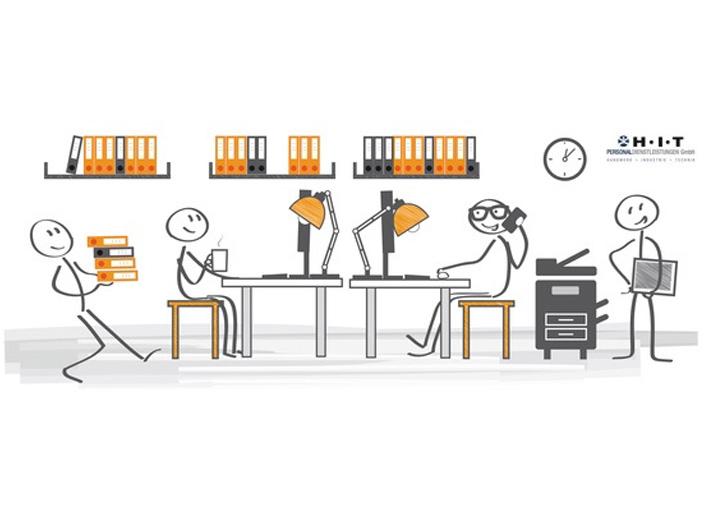 Effektiv im Großraumbüro arbeiten, visualisiert durch Strichmännchen bei der Arbeit in einem Großraumbüro