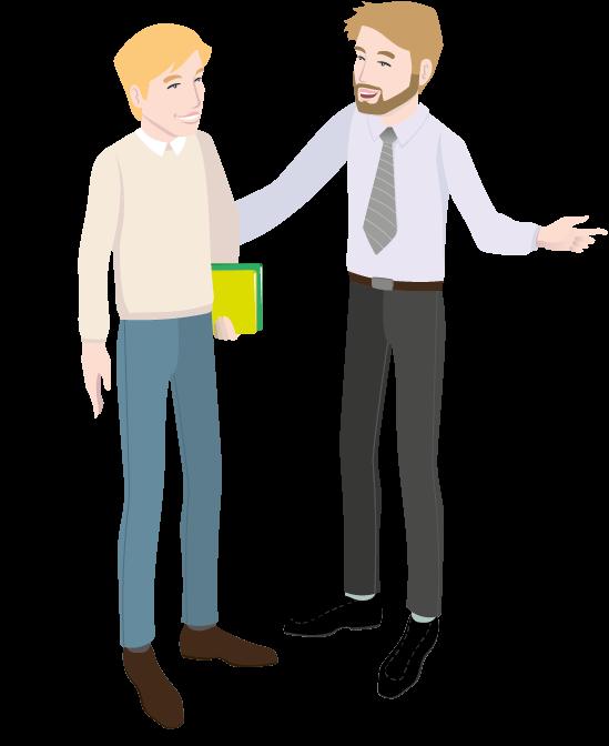 Illustration eines HIT-Mitarbeiters, der einen Mitarbeiter berät