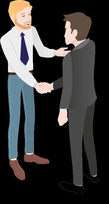 Illustration eines HIT-Mitarbeiters, der einen Kunden berät