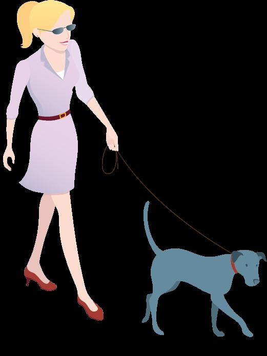 Illustrierte Dame geht Gassi mit Hund