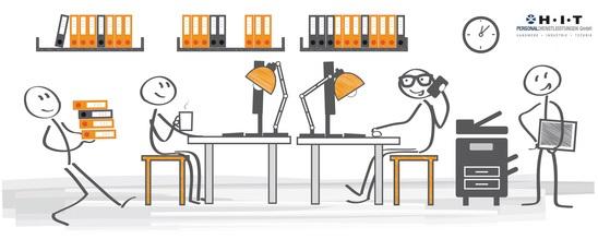 Strichmännchen bei der Arbeit in einem Großraumbüro
