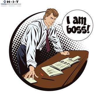"""Das darf Ihr Chef nicht, dazu illustrierter Chef mit Sprechblase """"I am boss"""""""
