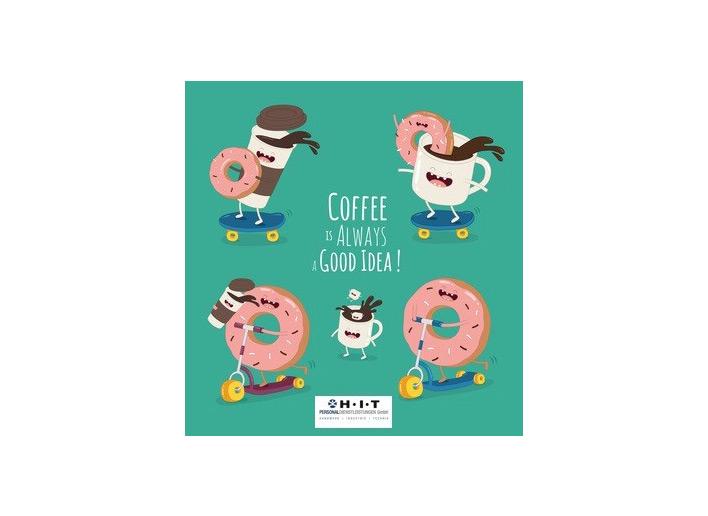 illustrierte Kaffeetassen und Donuts